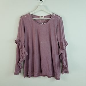 Style & Co Ruffle Sleeve Shirt  pink